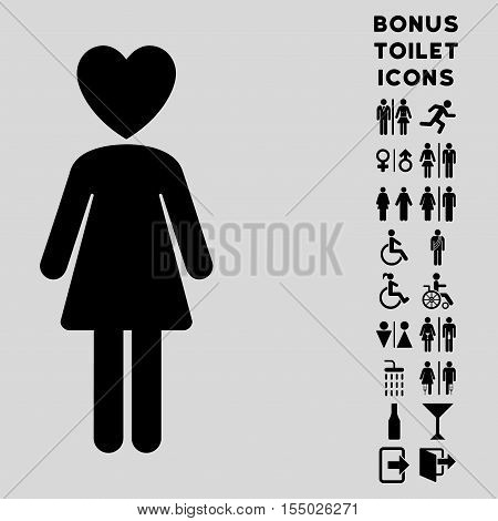 Mistress icon and bonus male and woman toilet symbols. Vector illustration style is flat iconic symbols, black color, light gray background.