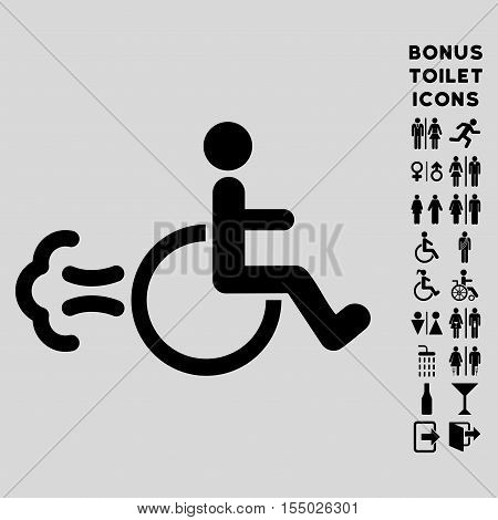 Patient Movement icon and bonus gentleman and female restroom symbols. Vector illustration style is flat iconic symbols, black color, light gray background.