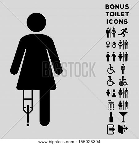 Patient Woman icon and bonus man and lady restroom symbols. Vector illustration style is flat iconic symbols, black color, light gray background.