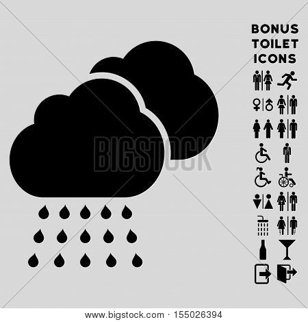 Rain Clouds icon and bonus male and woman restroom symbols. Vector illustration style is flat iconic symbols, black color, light gray background.