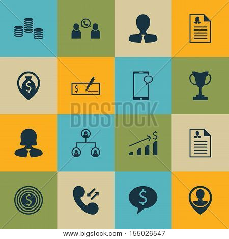 Set Of Hr Icons On Manager, Tournament And Curriculum Vitae Topics. Editable Vector Illustration. In