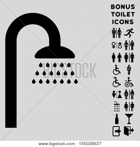 Shower icon and bonus man and female restroom symbols. Vector illustration style is flat iconic symbols, black color, light gray background.