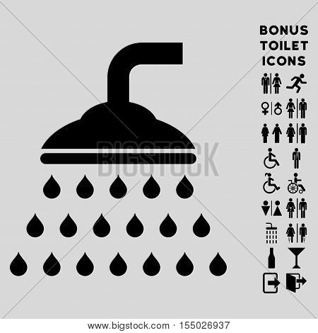 Shower icon and bonus male and lady WC symbols. Vector illustration style is flat iconic symbols, black color, light gray background.