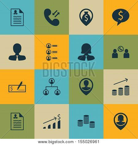 Set Of Human Resources Icons On Cellular Data, Money Navigation And Pin Employee Topics. Editable Ve