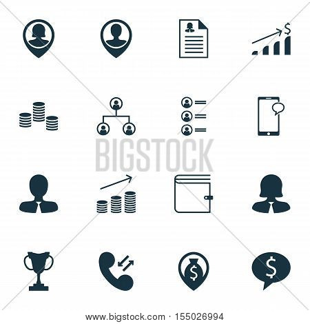 Set Of Human Resources Icons On Wallet, Female Application And Successful Investment Topics. Editabl