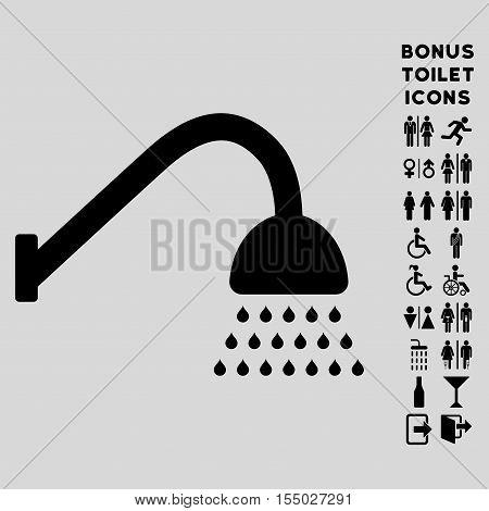 Shower icon and bonus gentleman and lady lavatory symbols. Vector illustration style is flat iconic symbols, black color, light gray background.