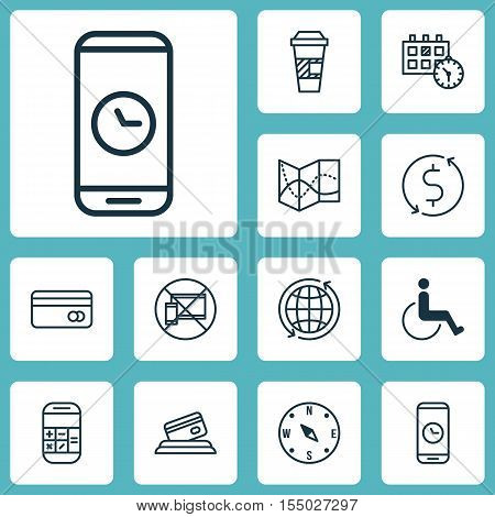 Set Of Airport Icons On World, Calculation And Money Trasnfer Topics. Editable Vector Illustration.