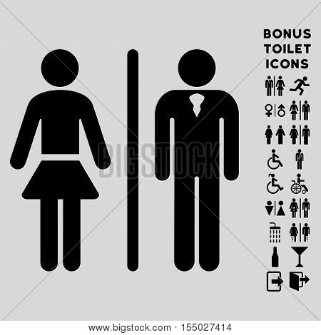 Toilet Persons icon and bonus male and female restroom symbols. Vector illustration style is flat iconic symbols, black color, light gray background.
