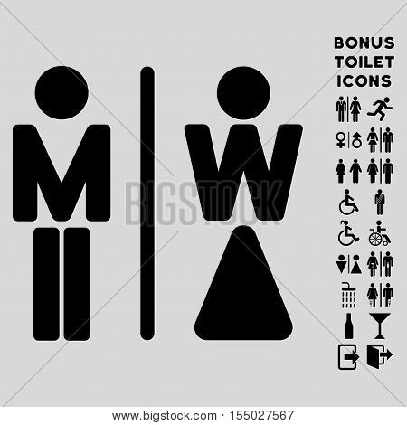 WC Persons icon and bonus man and woman toilet symbols. Vector illustration style is flat iconic symbols, black color, light gray background.