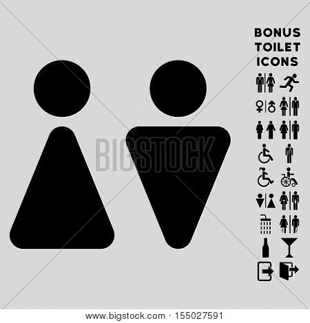 WC Persons icon and bonus male and female lavatory symbols. Vector illustration style is flat iconic symbols, black color, light gray background.