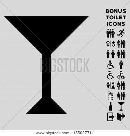 Wine Glass icon and bonus gentleman and lady lavatory symbols. Vector illustration style is flat iconic symbols, black color, light gray background.