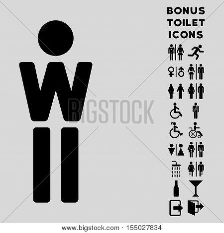Woman icon and bonus man and female toilet symbols. Vector illustration style is flat iconic symbols, black color, light gray background.