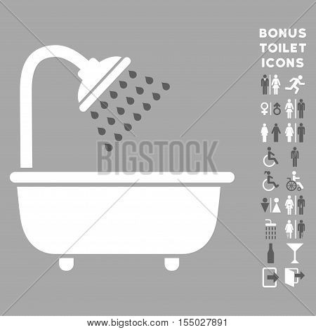 Bath Shower icon and bonus gentleman and woman toilet symbols. Vector illustration style is flat iconic bicolor symbols, dark gray and white colors, silver background.