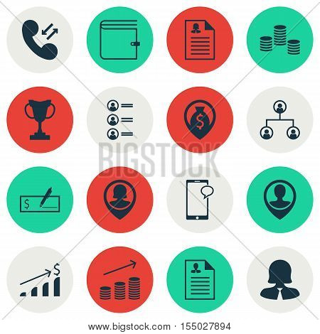 Set Of Human Resources Icons On Pin Employee, Tree Structure And Cellular Data Topics. Editable Vect