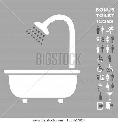 Bath Shower icon and bonus male and woman toilet symbols. Vector illustration style is flat iconic bicolor symbols, dark gray and white colors, silver background.