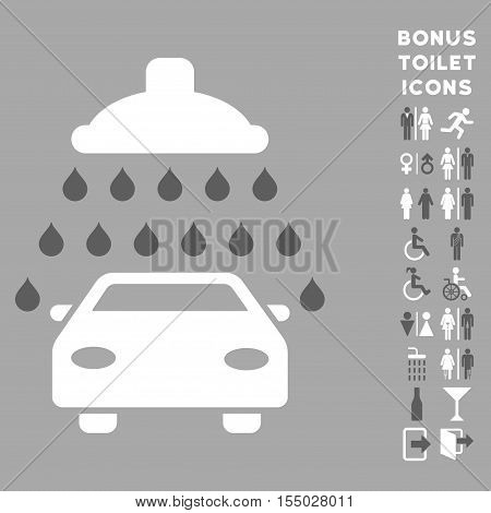Car Shower icon and bonus gentleman and female WC symbols. Vector illustration style is flat iconic bicolor symbols, dark gray and white colors, silver background.