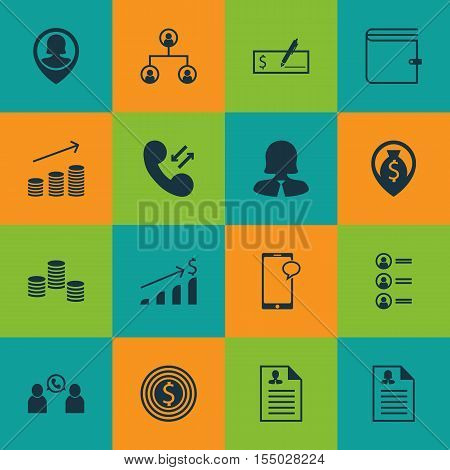 Set Of Hr Icons On Money Navigation, Pin Employee And Cellular Data Topics. Editable Vector Illustra