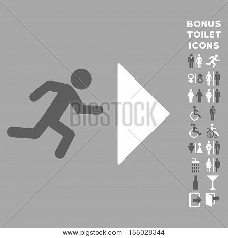 Exit Direction icon and bonus man and woman WC symbols. Vector illustration style is flat iconic bicolor symbols, dark gray and white colors, silver background.