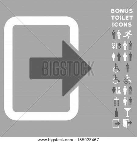 Exit Door icon and bonus gentleman and female toilet symbols. Vector illustration style is flat iconic bicolor symbols, dark gray and white colors, silver background.