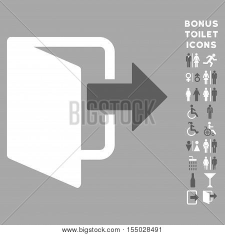 Exit Door icon and bonus male and lady toilet symbols. Vector illustration style is flat iconic bicolor symbols, dark gray and white colors, silver background.