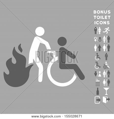 Fire Patient Evacuation icon and bonus male and woman WC symbols. Vector illustration style is flat iconic bicolor symbols, dark gray and white colors, silver background.