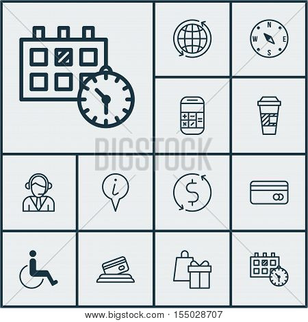 Set Of Travel Icons On Operator, Locate And Money Trasnfer Topics. Editable Vector Illustration. Inc