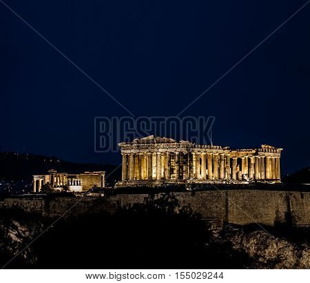 Parthenon, Acropolis of Athens at Night Greece