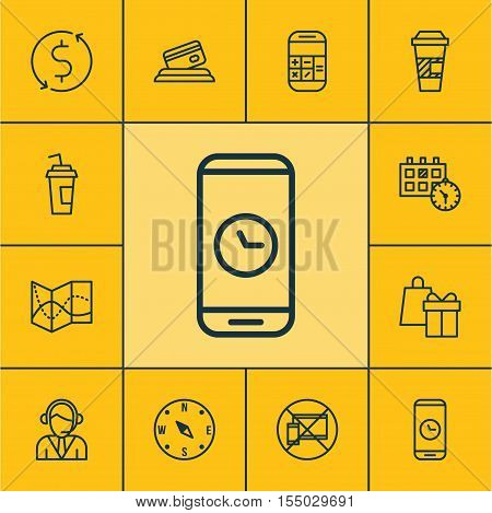 Set Of Traveling Icons On Operator, Takeaway Coffee And Shopping Topics. Editable Vector Illustratio