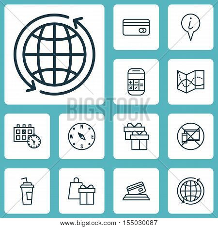 Set Of Traveling Icons On Drink Cup, Calculation And Locate Topics. Editable Vector Illustration. In