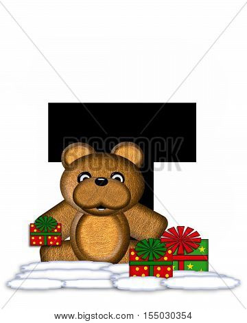 Alphabet Teddy Christmas T