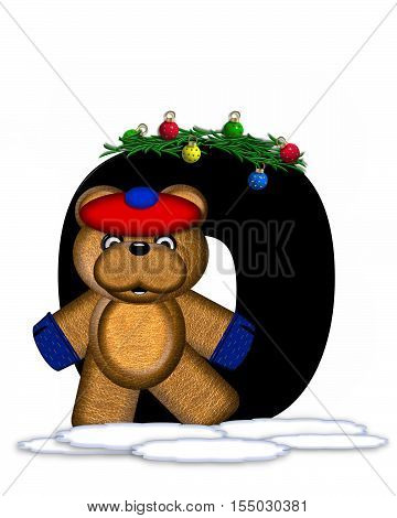 Alphabet Teddy Christmas Boughs O