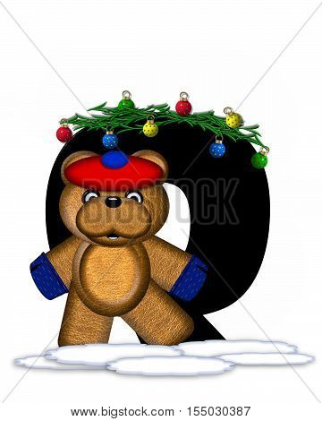 Alphabet Teddy Christmas Boughs Q