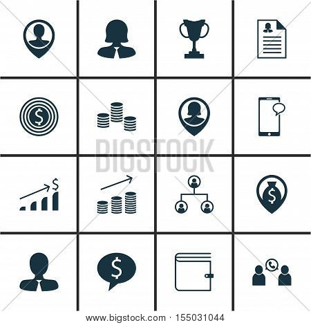 Set Of Human Resources Icons On Wallet, Manager And Female Application Topics. Editable Vector Illus