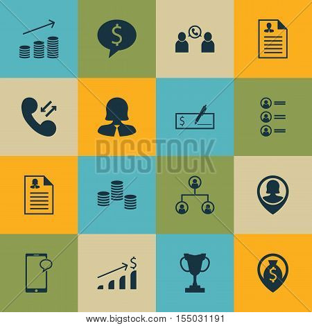 Set Of Hr Icons On Female Application, Money And Bank Payment Topics. Editable Vector Illustration.