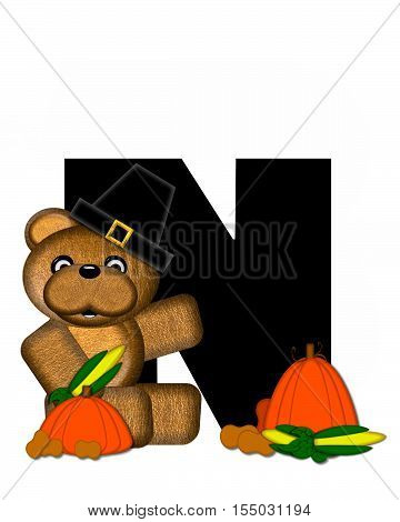 Alphabet Teddy Thanksgiving N
