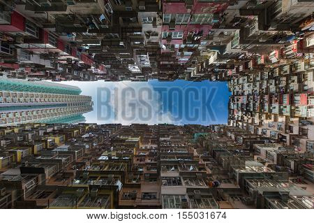 Overcrowded apartment residential building in Hong Kong city downtown