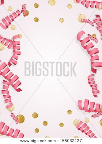 Holiday Background With Frame Made Of Pink Paper Serpentine Streamers And Golden Metallic Confetti
