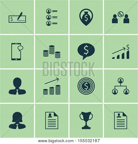 Set Of Human Resources Icons On Phone Conference, Tournament And Money Topics. Editable Vector Illus