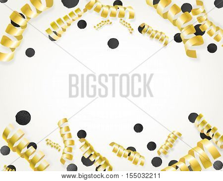 Holiday Background With Frame Made Of Golden Metallic Serpentine Streamers And Black Confetti