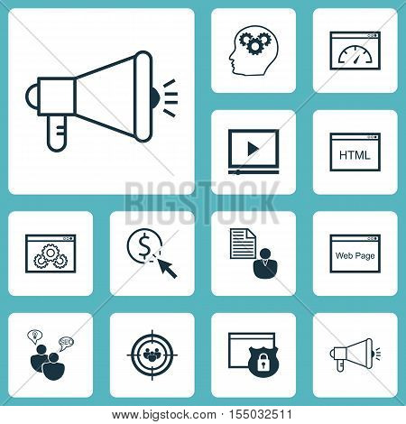 Set Of Seo Icons On Loading Speed, Media Campaign And Security Topics. Editable Vector Illustration.