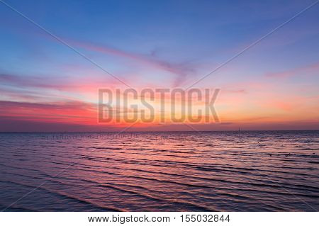 Beautiful sky after sunset over seacoast, natural landscape background