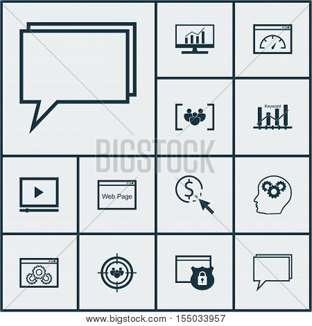 Set Of Seo Icons On Security, Website Performance And Conference Topics. Editable Vector Illustratio