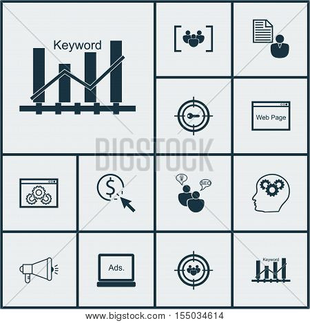 Set Of Seo Icons On Keyword Marketing, Keyword Optimisation And Media Campaign Topics. Editable Vect