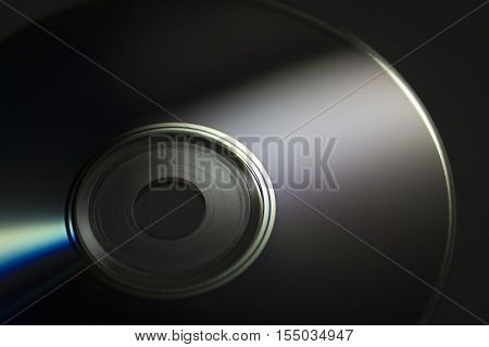 Compact disc close-up on a dark background.