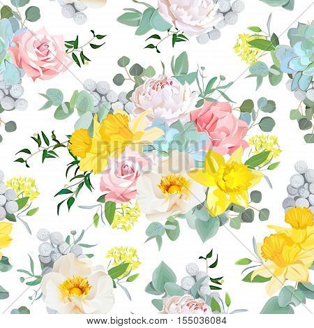 Summer sunny floral seamless vector pattern. Peony rose narcissus carnation echeveria succulent brunia pink and yellow flowers.