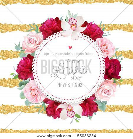 Elegant burgundy red peonies orchid rose camellia eucalyptus leaves round vector frame. Striped gold glitter backdrop. All elements are isolated and editable.