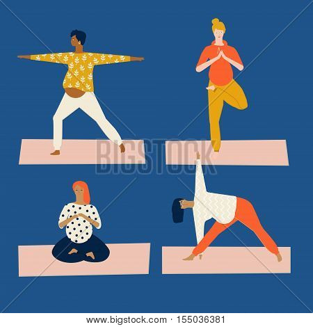 Maternity pregnant woman doing yoga. Yoga class for pregnant in vector. Healthy lifestyle flat style illustration