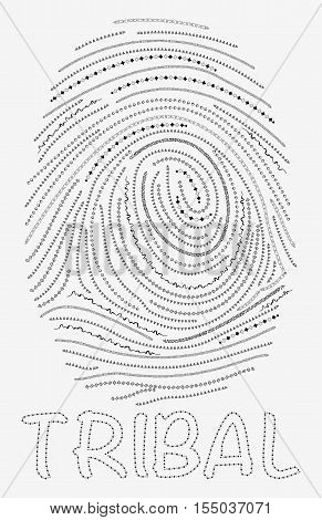 Finger print from ethnic hand-painted brushes on white background. Tribal finger print whith artistic tribal geometric ornament.