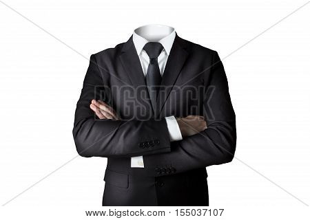 businessman suit without head isolated crossed arms