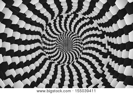 abstract background with box black and white twist 3d illustration